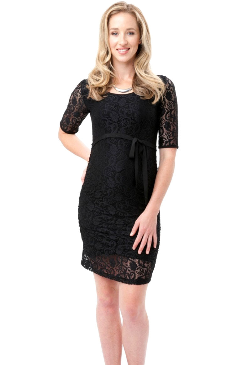 Lace Maternity Evening Dress by Ripe in Caviar