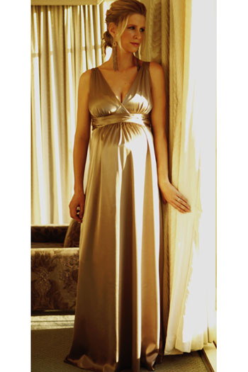 Ripe Satin Maternity Gown Dress - Seven Women Maternity