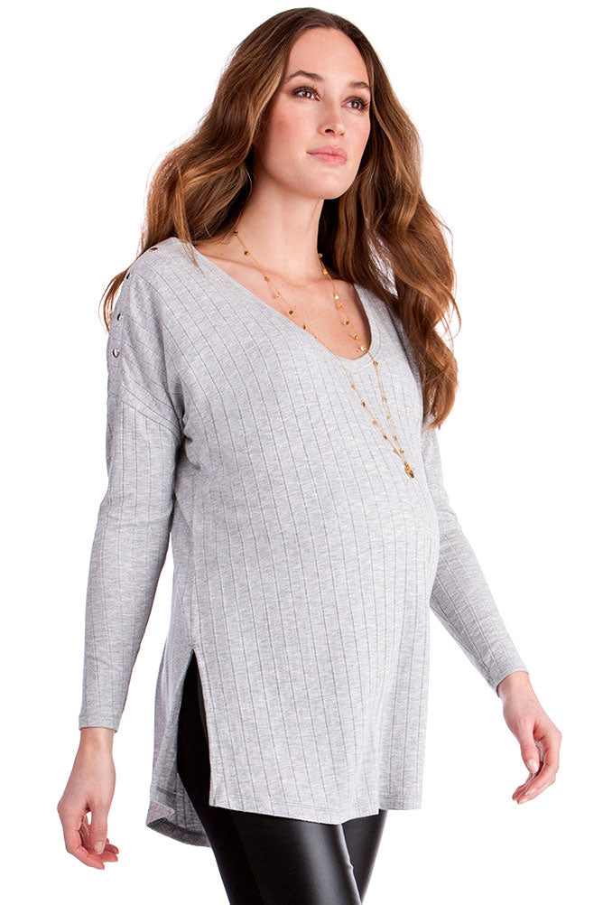 Seraphine Queenie Grey Ribbed Maternity & Nursing Top