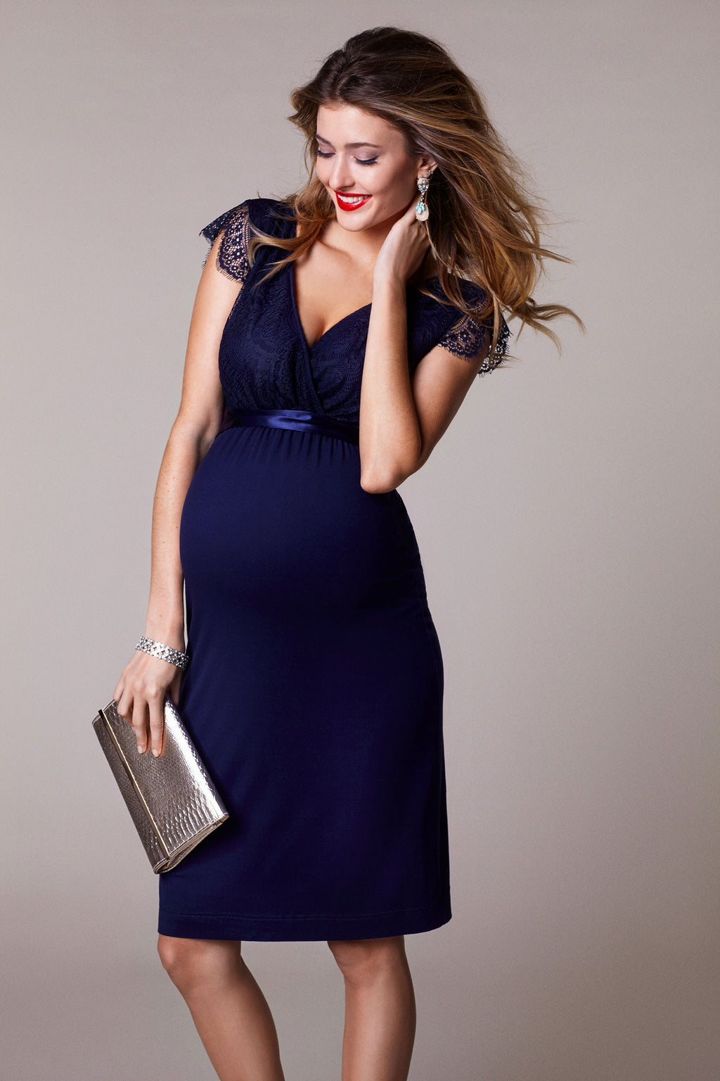 Tiffany Rose Rosa Maternity Nursing  Dress in indigo Blue - Seven Women Maternity