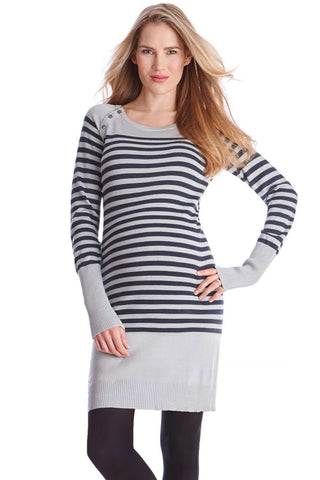 Seraphine Eda Gray Roll Neck Maternity Nursing Sweater