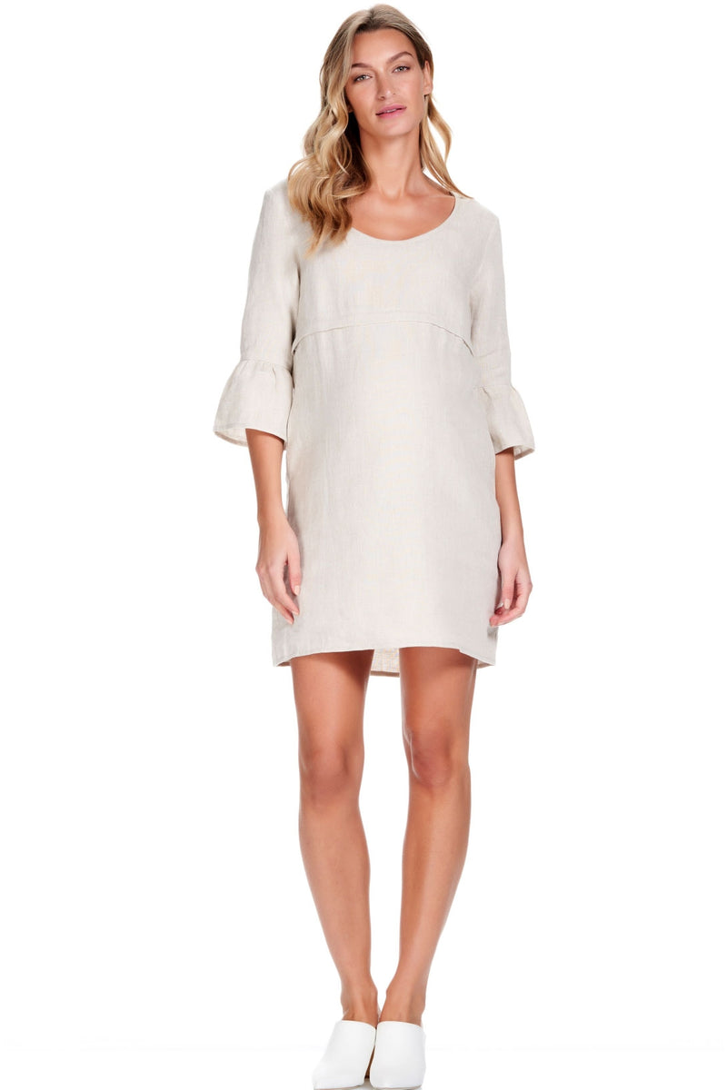 Rubi Linen Maternity Nursing Dress - Seven Women Maternity