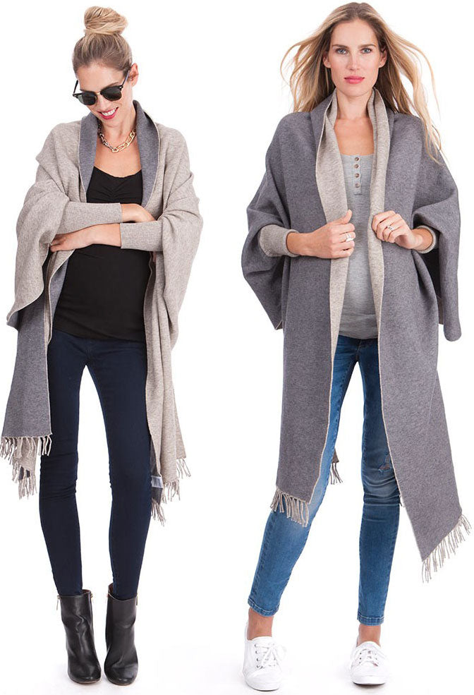 Seraphine Rudy Two-Tone Luxury Maternity & Nursing Shawl Wrap - Seven Women Maternity