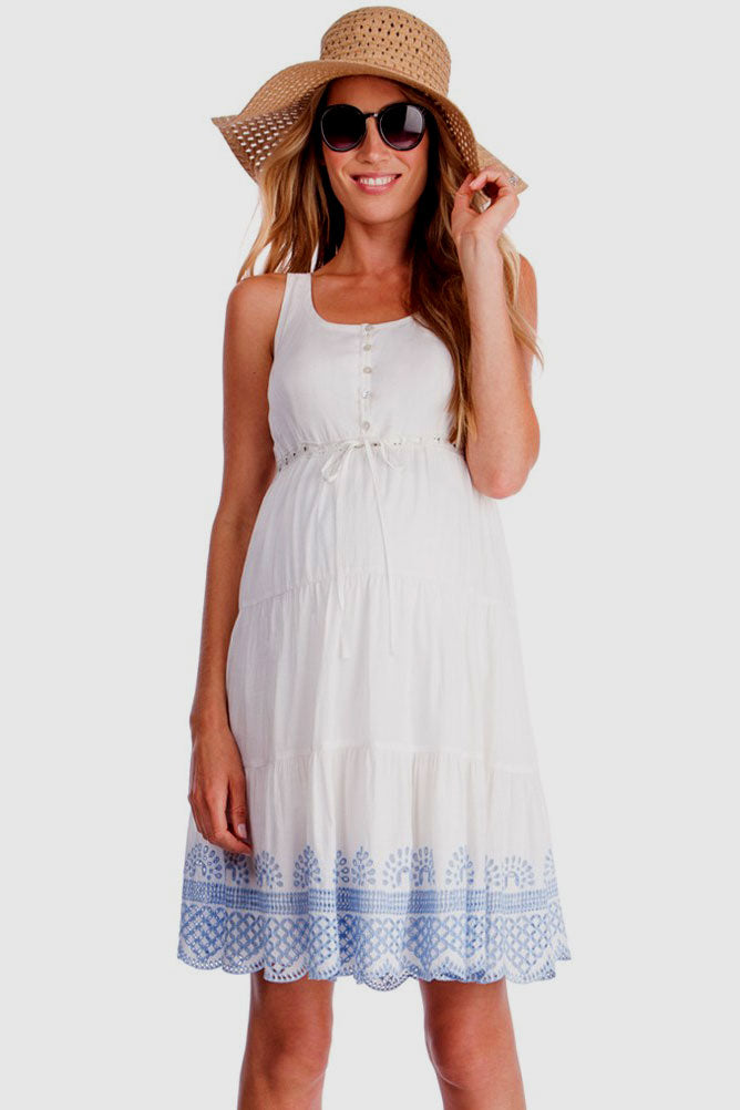 Seraphine Sabrina White Maternity Sundress - Seven Women Maternity