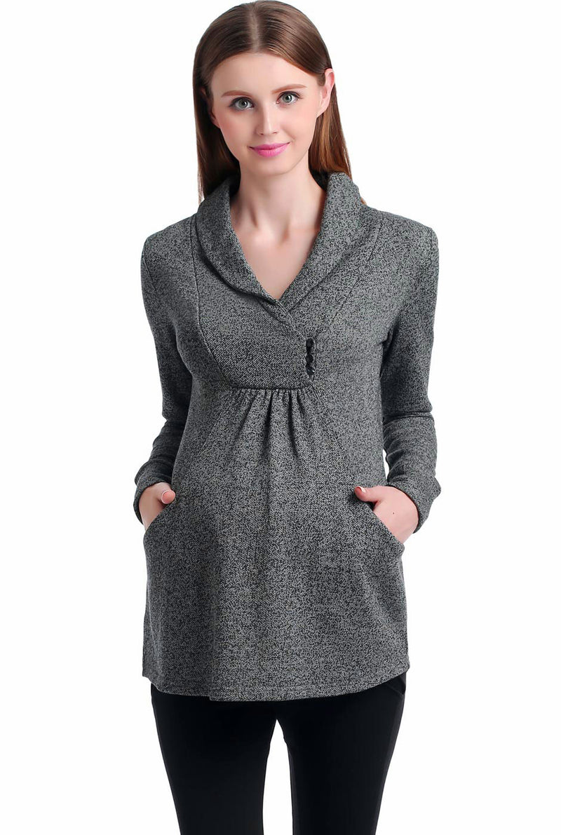 Kimi + Kai Maternity Sadie Shawl Collar Top