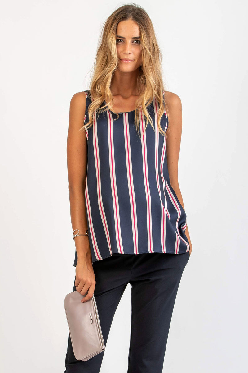 The Serena Navy Striped Maternity blouse by Attesa - Seven Women Maternity