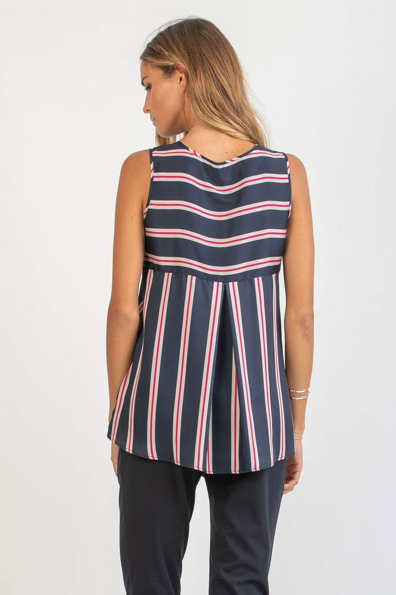The Serena Navy Striped Maternity blouse by Attesa