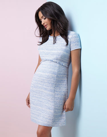 Seraphine Kiara Navy Blue Bouclé Maternity Shift Dress