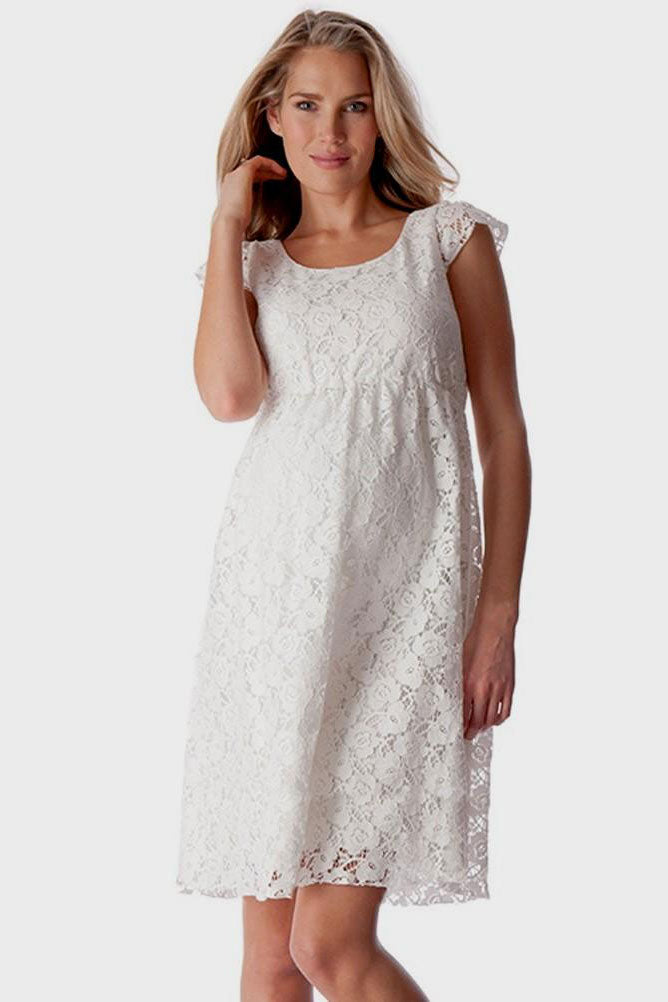 Seraphine Sloan White Cap Sleeve Lace Maternity Dress - Seven Women Maternity