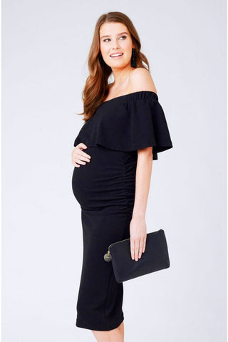 Seraphine Laurel Black Flora Chiffon Maternity Dress