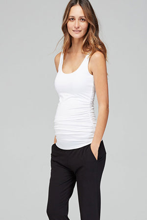 Isabella Oliver White Maternity Ruched Tank