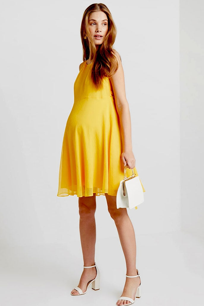 Tanya Chiffon Maternity Dress by Pietro Brunelli Marigold - Seven Women Maternity