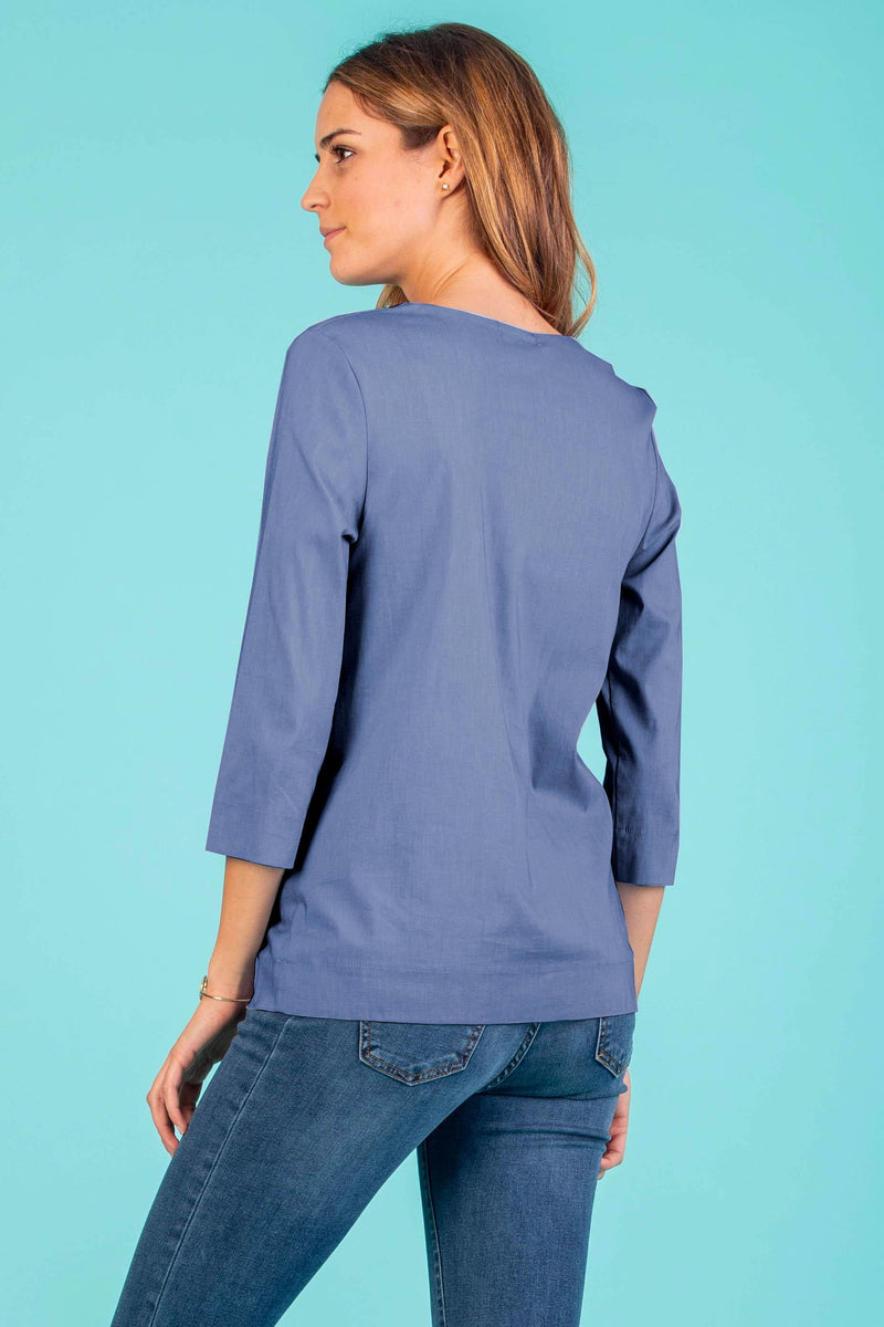 Thea Maternity Poplin Shirt in Indigo - Seven Women Maternity