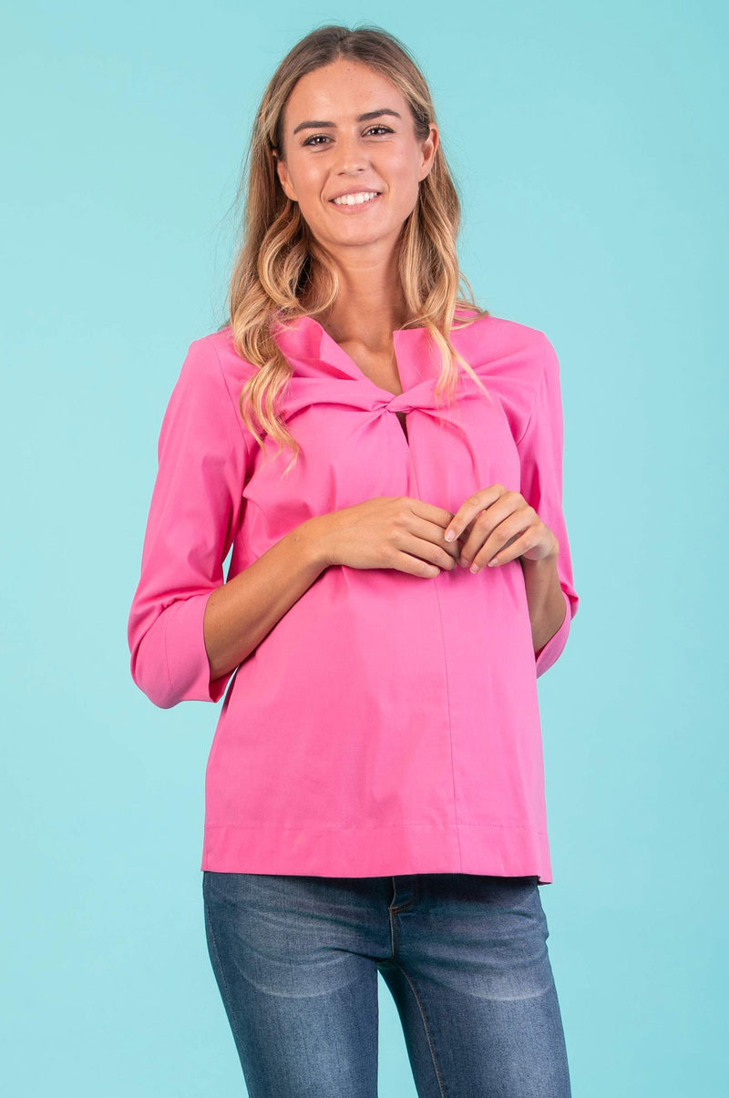 Thea Maternity Poplin Shirt in Pink - Seven Women Maternity