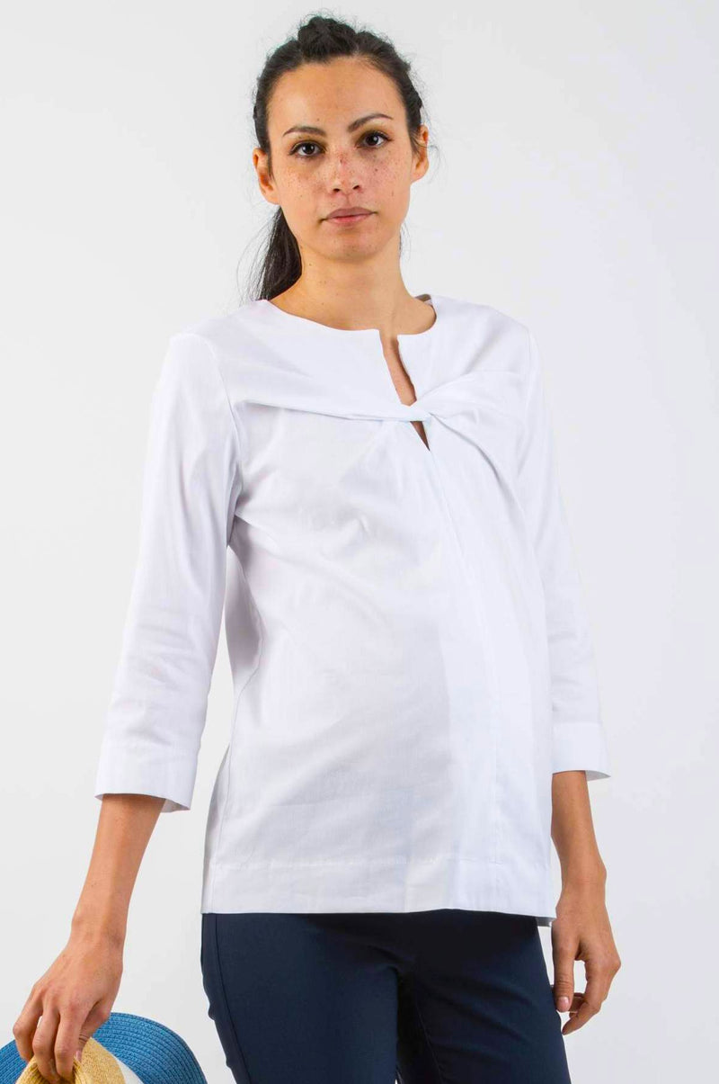 Thea Maternity Poplin Shirt in White - Seven Women Maternity
