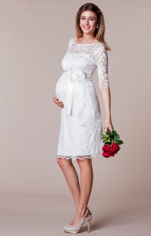 Tiffany Rose Amelia Maternity Stretch Lace Dress in Pearl Blush