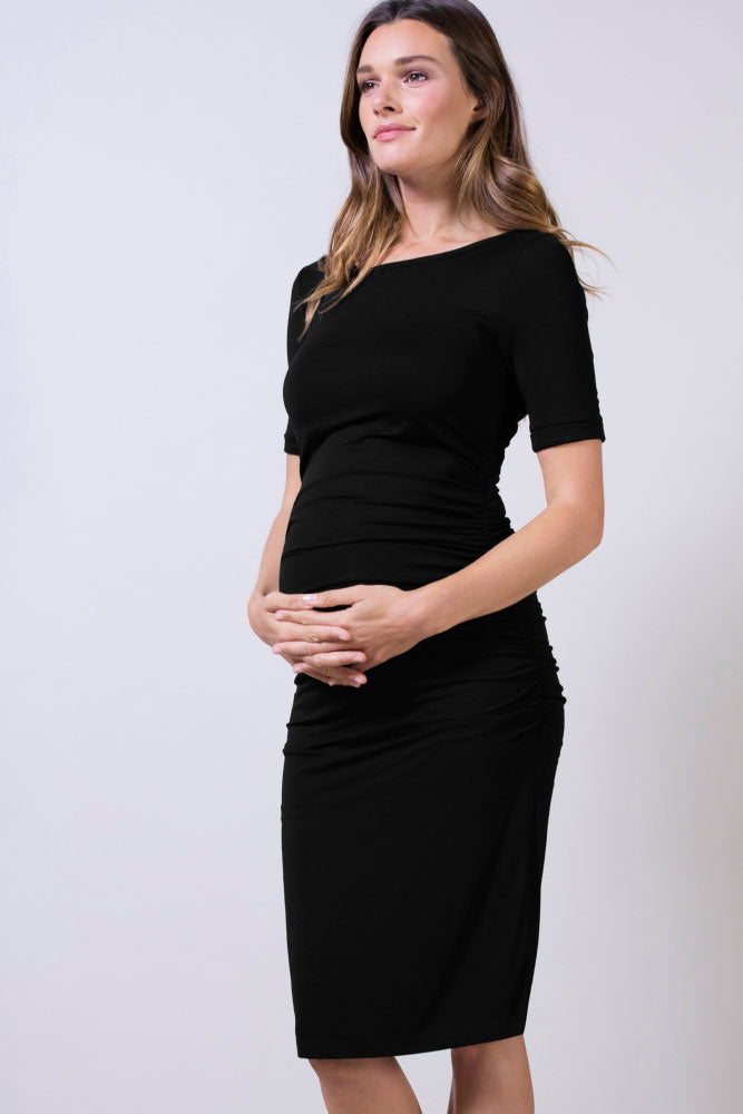 Cap Sleeve Ruched Maternity Dress