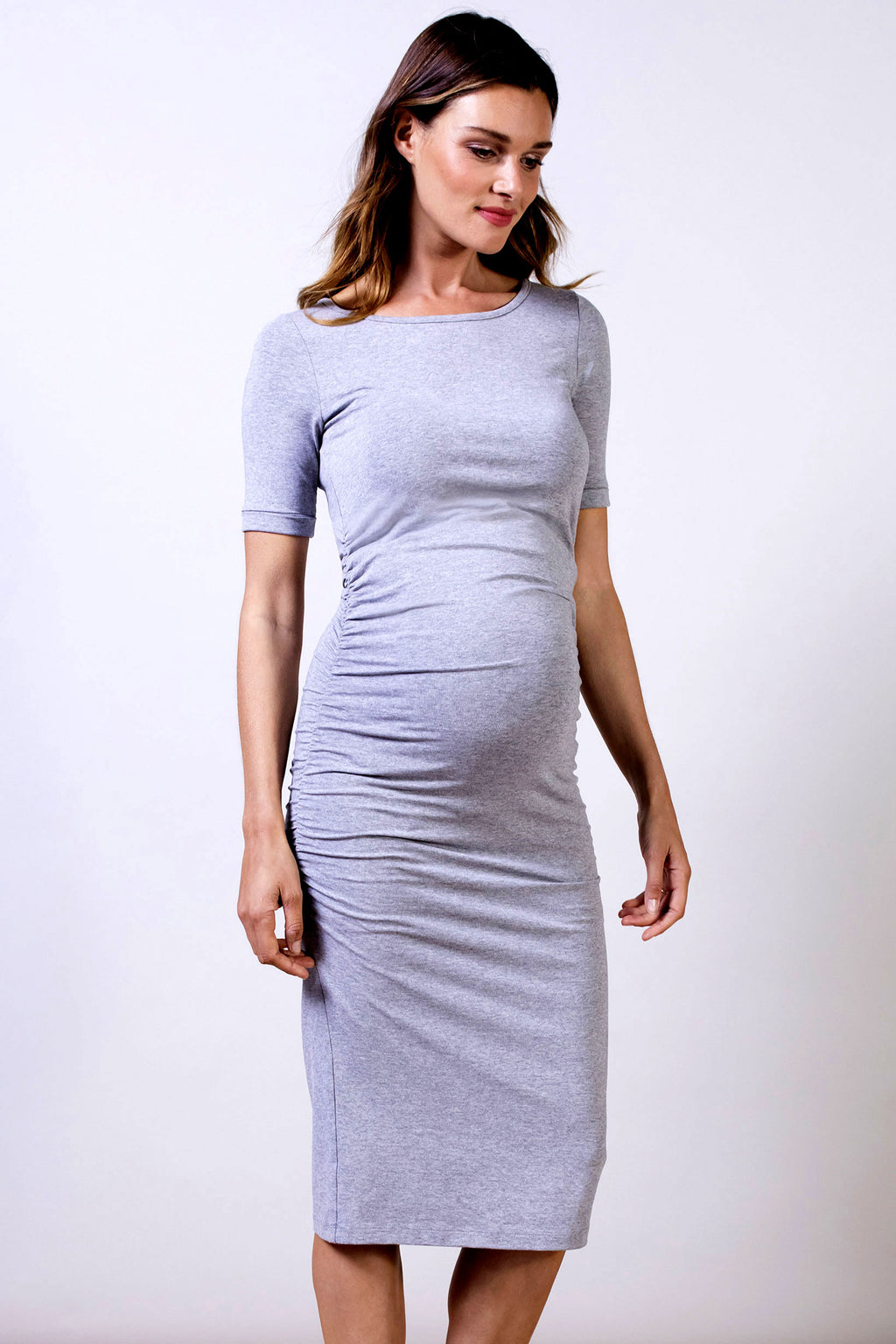 Isabella Oliver Cap Sleeve Maternity Dress in Heather Grey