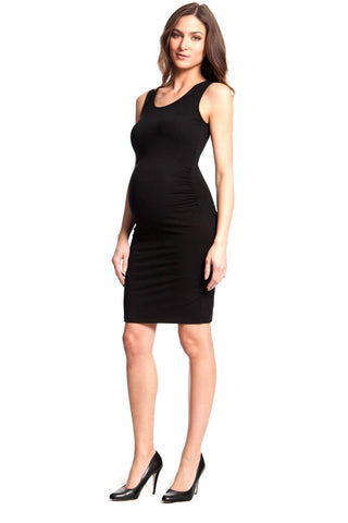 Olian Twisted V Neck Maternity Dress Black And Purple