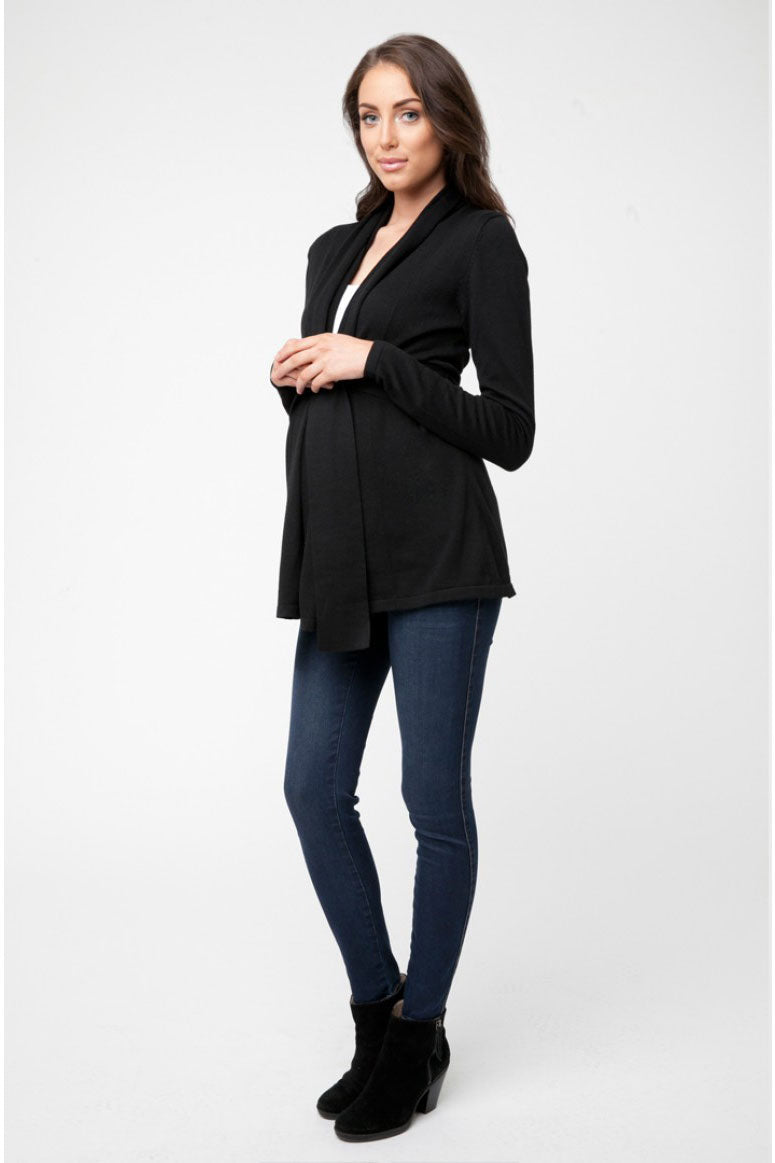 Villa Maternity Cardigan Sweater by Ripe in Caviar Black