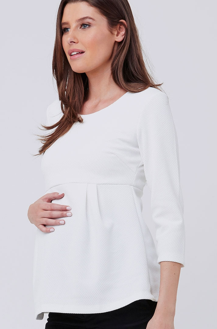 Ripe 3/4 Sleeve Waffle Peplum Maternity Top in white - Seven Women Maternity
