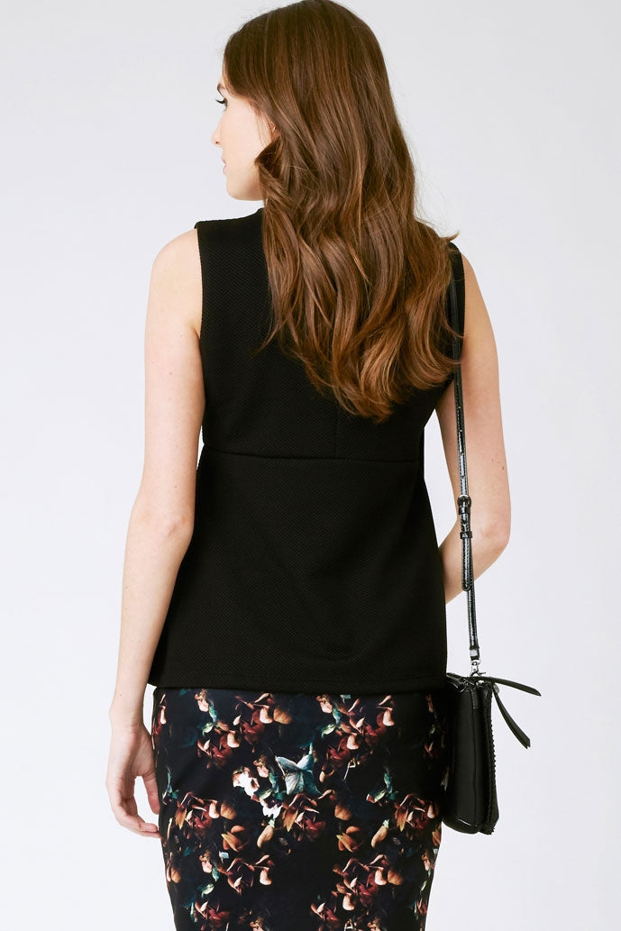 Ripe Waffle Peplum Top in Black - Seven Women Maternity