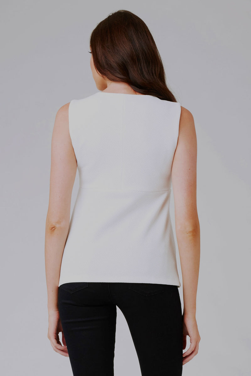 Ripe Waffle Peplum Top in White - Seven Women Maternity