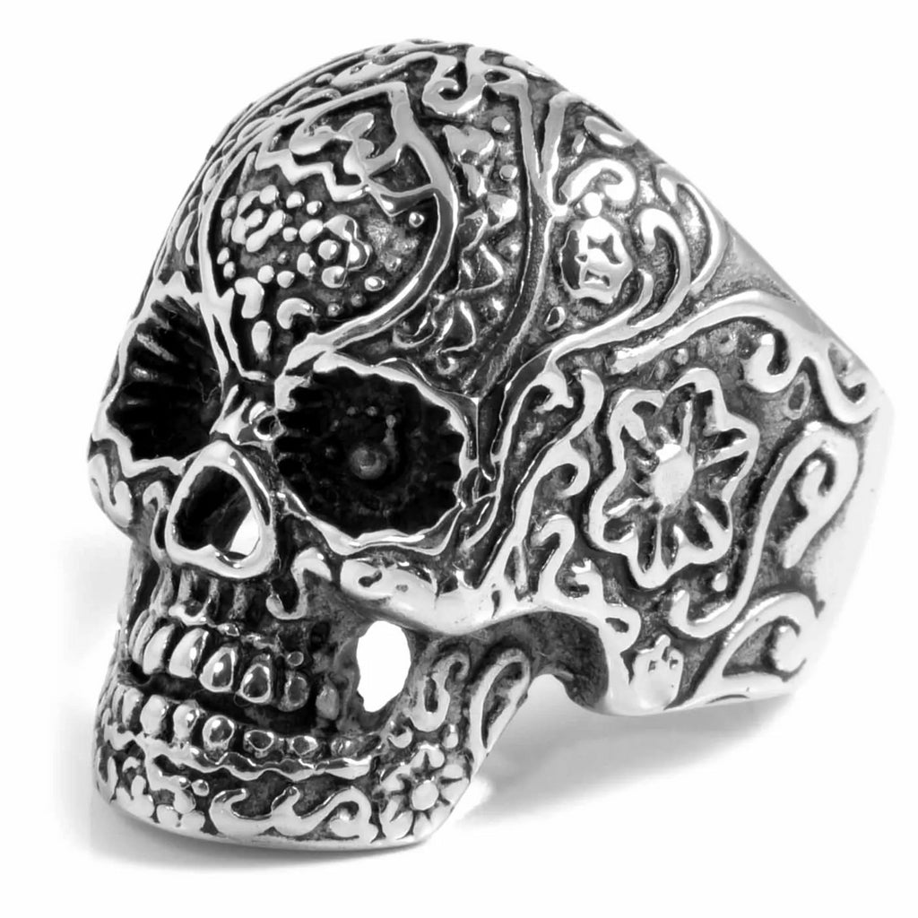 DETAILED SKELETON SKULL STEEL RING