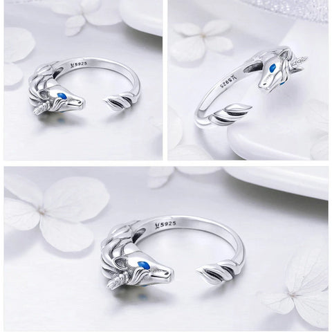 Luxurious Pure S925 Silver Unicorn Ring