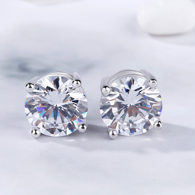 Classic Round Cut Sterling Silver Stud Earrings