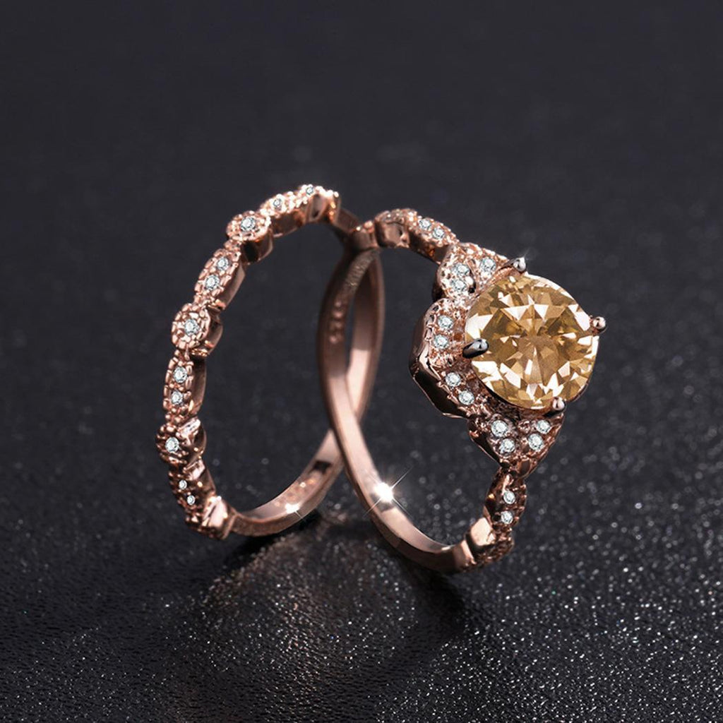 Rose Gold Square Ring Set