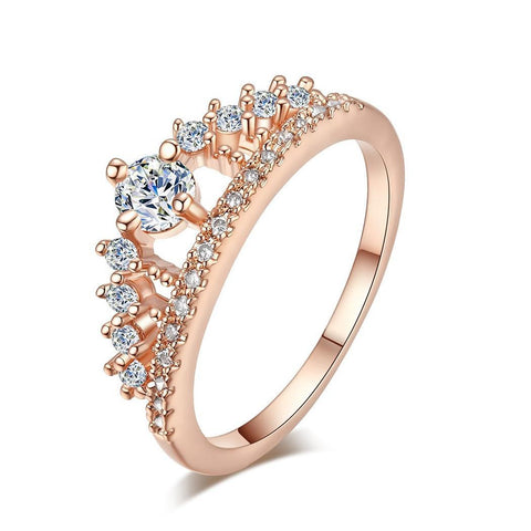 Women Fashion Rose Gold White Gold Crown Diamond Ring
