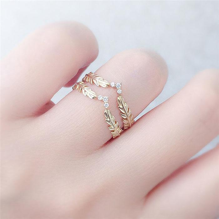 Wheat Shape Rhinestone Decoration Ring Party Rings