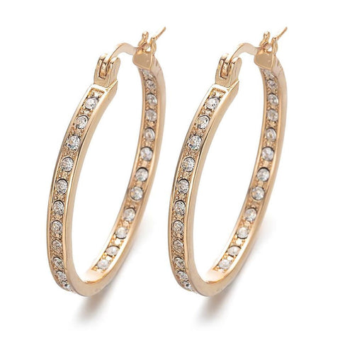 1 Pair elegant colorful rhinestone hoop earring