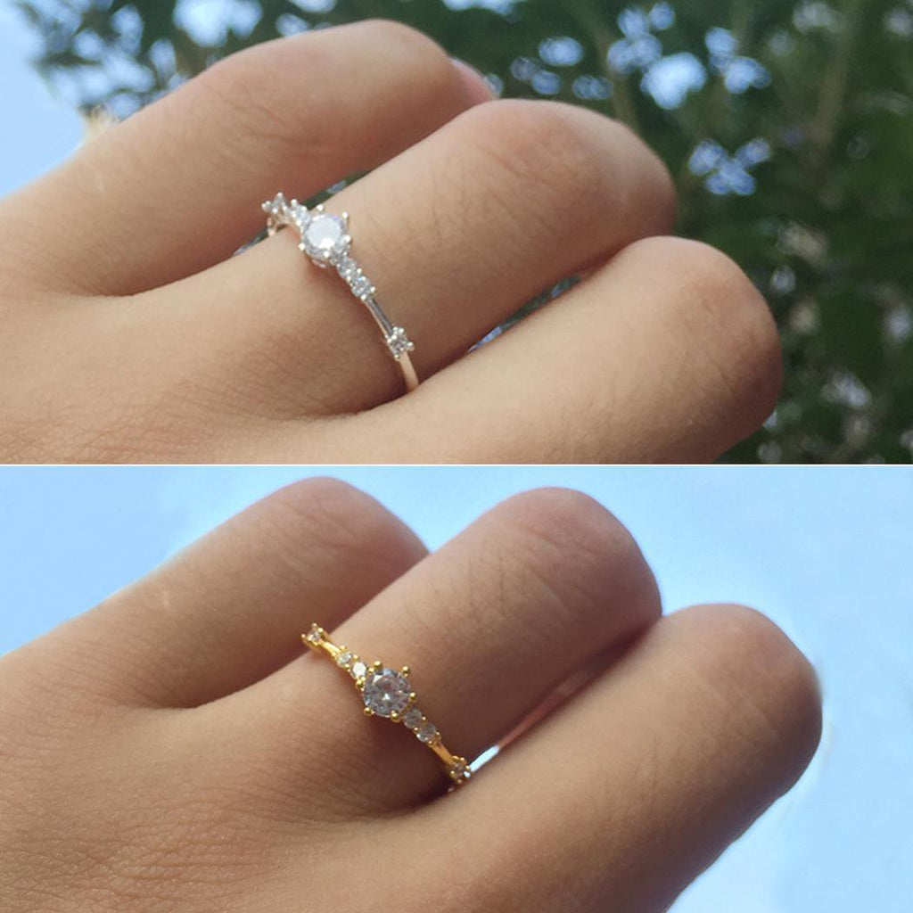 14k gold 7 diamond exquisite small fresh ladies engagement ring