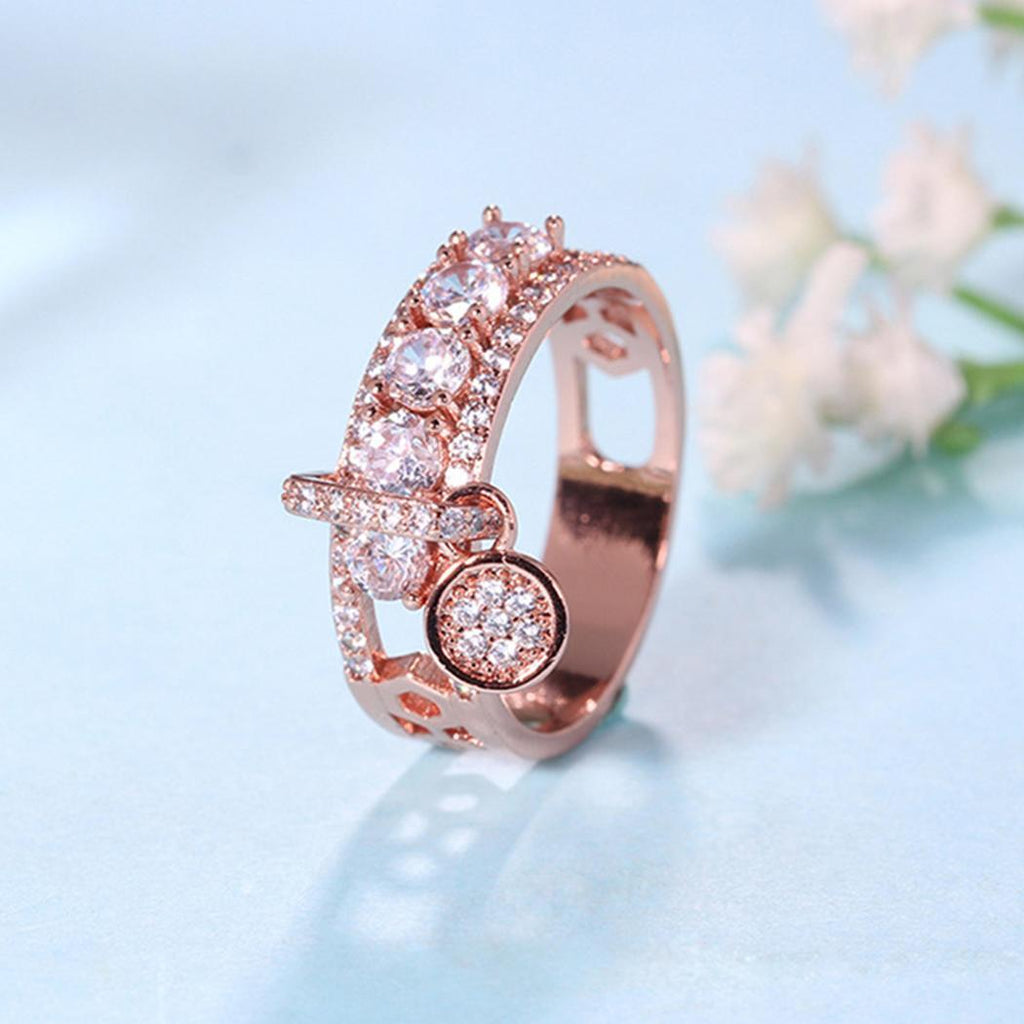 Women Casual Artificial Gem Jewelry Charm Wedding Ring