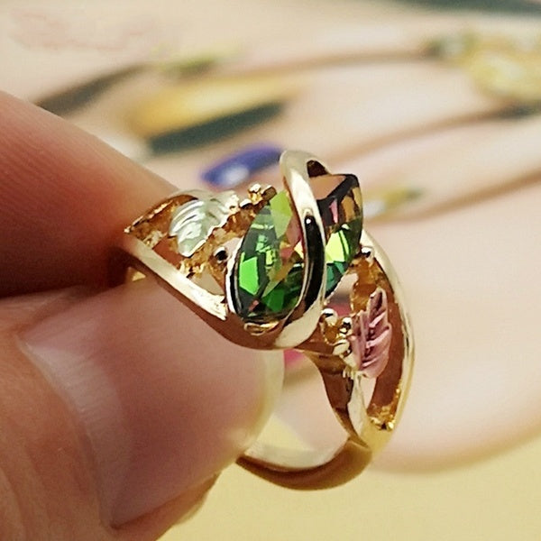 Women Exquisite Mystic Fire Black Hills Leaf Gold Rings Jewelry Gift