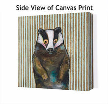Load image into Gallery viewer, Badger In Stripes - Canvas Giclée Print