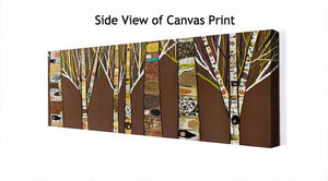 Birch Tree Forest in Chocolate Brown - Canvas Giclée Print
