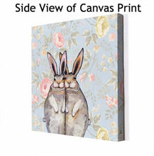 Load image into Gallery viewer, Cuddle Bunnies in Floating Flowers - Canvas Giclée Print