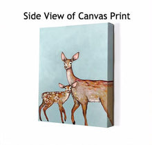 Load image into Gallery viewer, Deer with Fawn Blue - Canvas Giclée Print