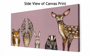 Forest Animals Pink - Canvas Giclée Print
