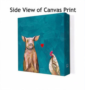 Hen Loves Pig - Canvas Giclée Print
