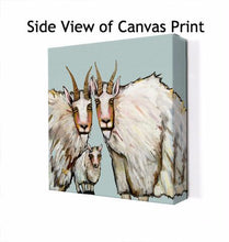 Load image into Gallery viewer, Mountain Goat Family Portrait in Blue - Canvas Giclée Print