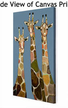 Load image into Gallery viewer, Three Giraffes in Blue - Canvas Giclée Print