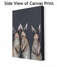 Load image into Gallery viewer, Three Standing Rabbits on Gray - Canvas Giclée Print