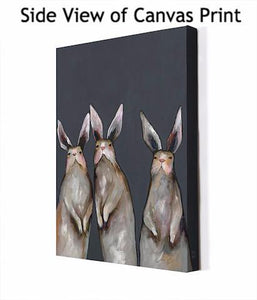 Three Standing Rabbits on Gray - Canvas Giclée Print