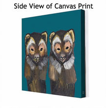 Load image into Gallery viewer, Pair of Wolverines on Teal - Canvas Giclée Print