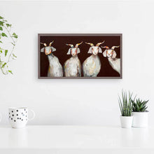 "Load image into Gallery viewer, 4 Goats on Chocolate Mini Print 10""x5"""