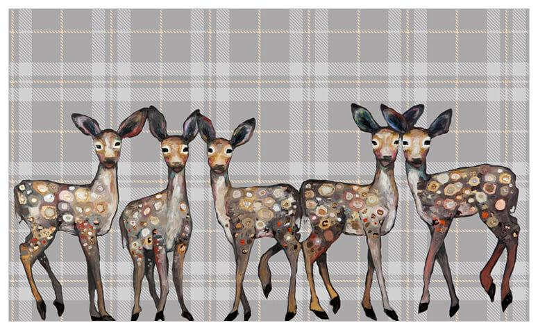 5 Dancing Fawns in Plaid - Canvas Giclée Print